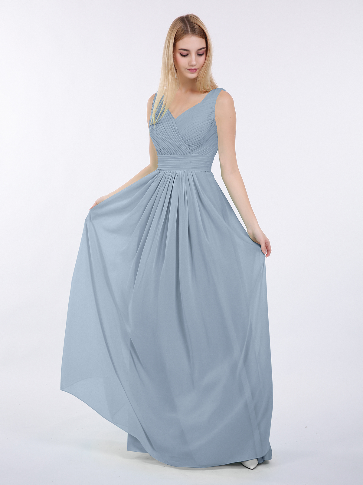 Gorgeous Dusty Blue Bridesmaid Dress made of flowy chiffon with sexy V Neck