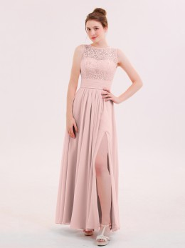 Dione Illusin Neck Lace and CHIffon Dress with Slit