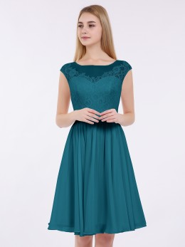Erica Chiffon and Lace Short Bridesmaid Gown