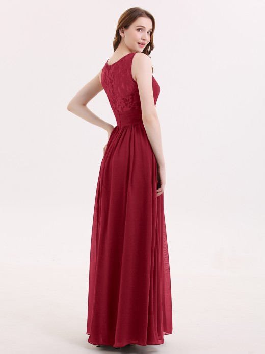 Babaroni Adalyn V-neck Chiffon Dresses with Lace Strap