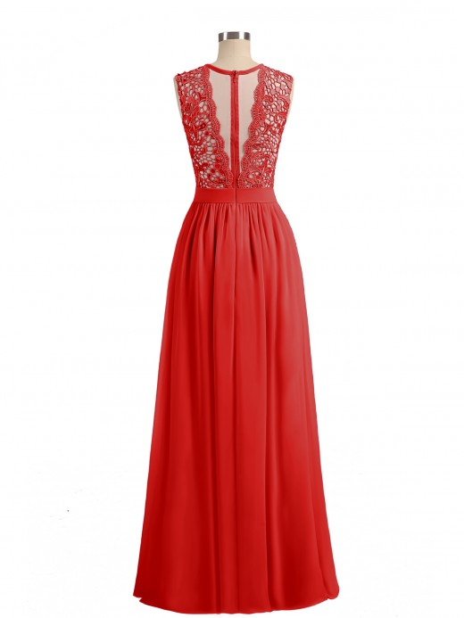 Babaroni Aletta Chiffon and Lace Long Dresses with Illusion Neck