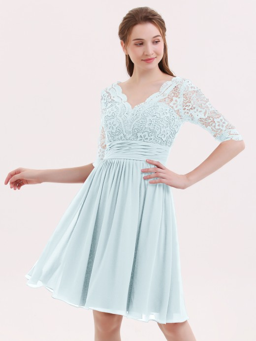 Babaroni Alexia Half Sleeves Lace And Chiffon Short Gowns