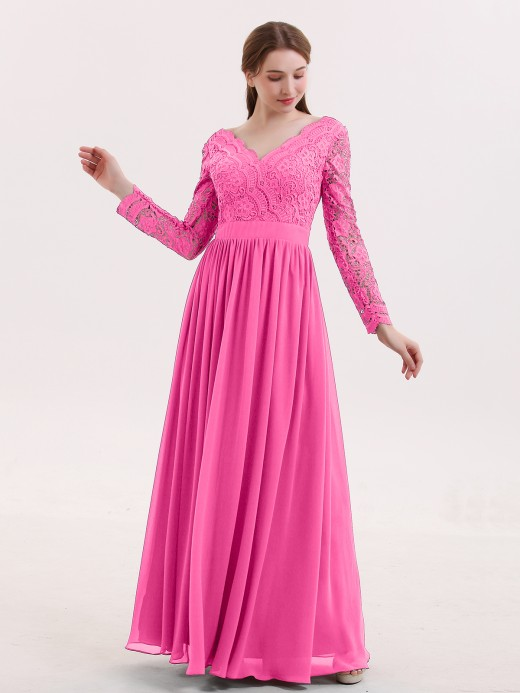 Babaroni Alina Long Sleeves Chiffon Dress with V-neck