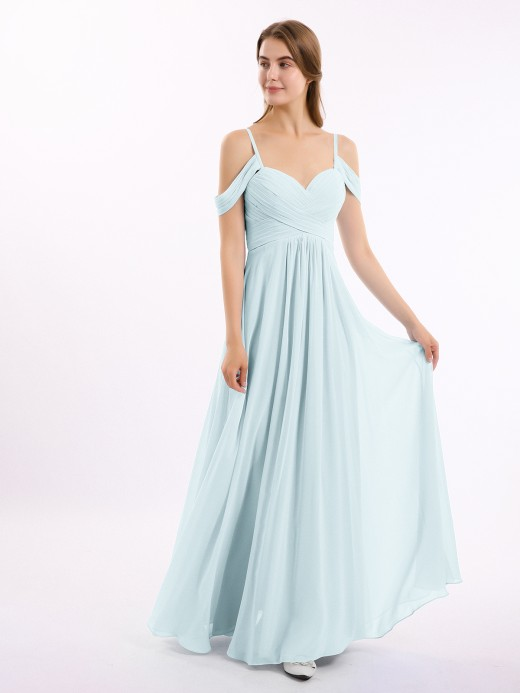 Babaroni Alivia Off The Shoulder Chiffon Dresses with Spaghetti Straps