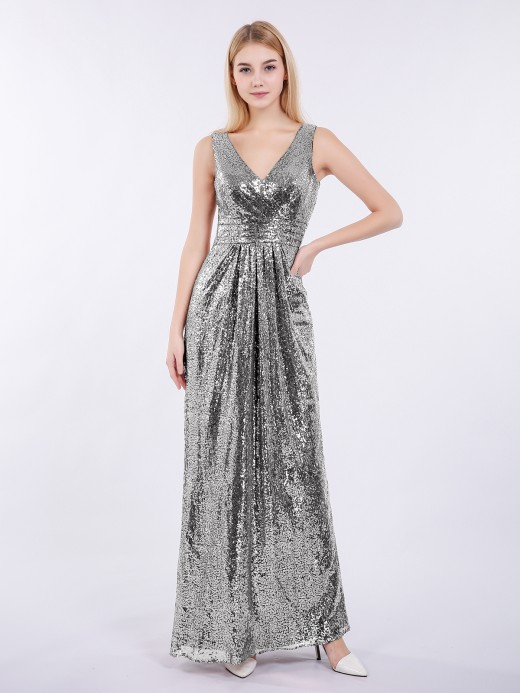 Babaroni Alma V-neck Sequins Lace Long Dresses