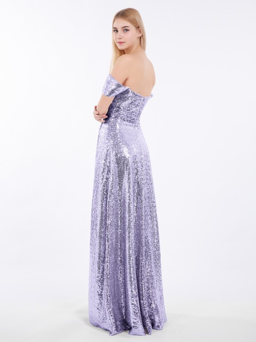 Babaroni Alva Sequins Lace Off the Shoulder Long Dresses