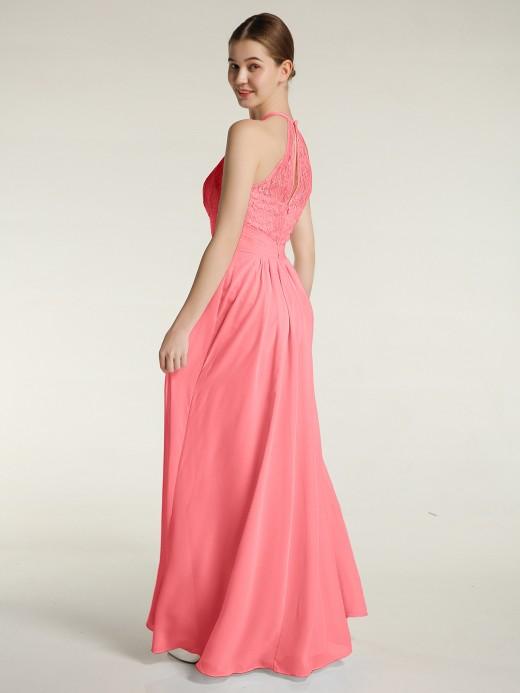 Babaroni Amanda Chiffon Long Dress with Lace Bodice