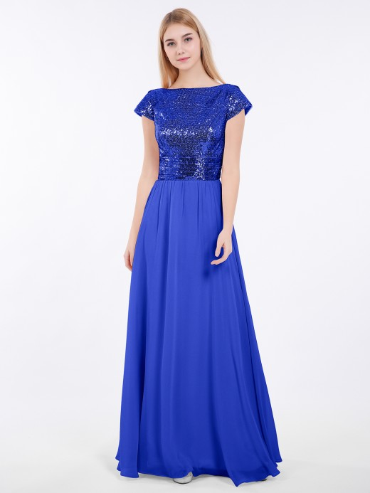 Babaroni Amaris Cap Sleeves Long Dresses with Sequins Top