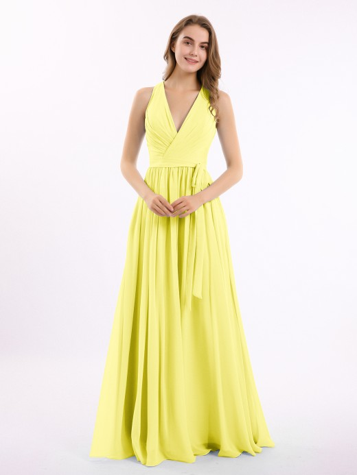 Babaroni Amelia Classic Chiffon Dress with Deep V Neck