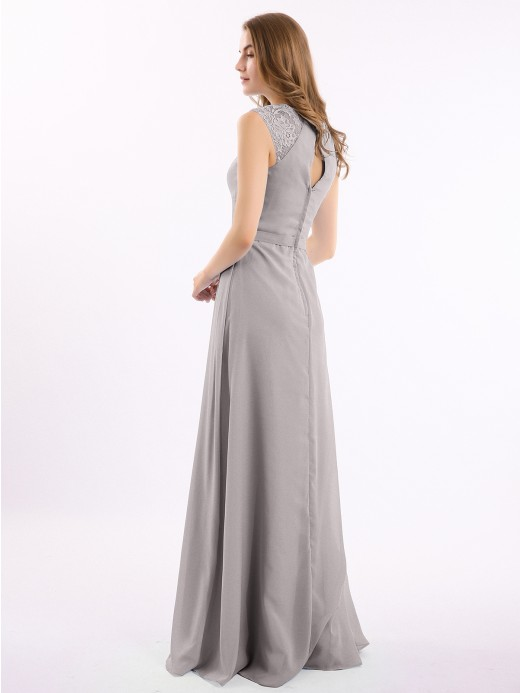 Babaroni Amoret Simple Long Chiffon Dress with Lace Decor
