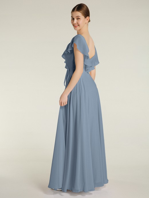 Babaroni Angel V-neck Cap Sleeves Chiffon Bridesmaid Dresses