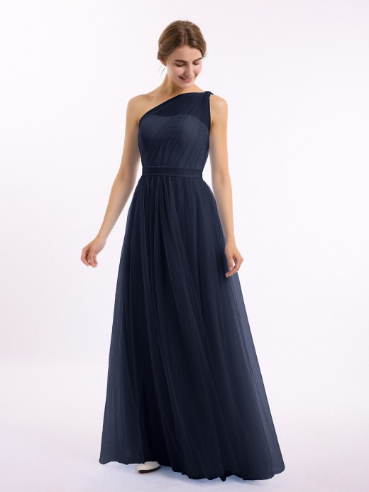 Babaroni Angelina One Shoulder Tulle Long Bridesmaid Dresses