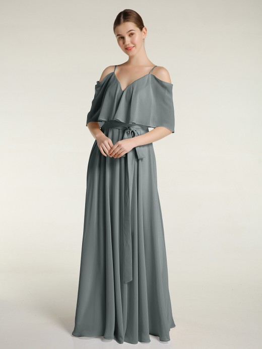 Babaroni Ann Spaghetti Strap Dresses with Flutter Sleeves