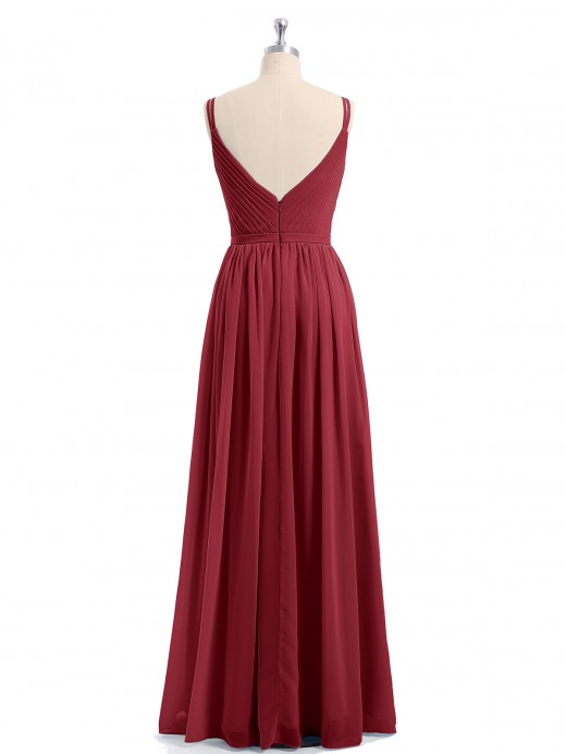 Babaroni Annabelle V-neck Chiffon Dresses with Double Straps