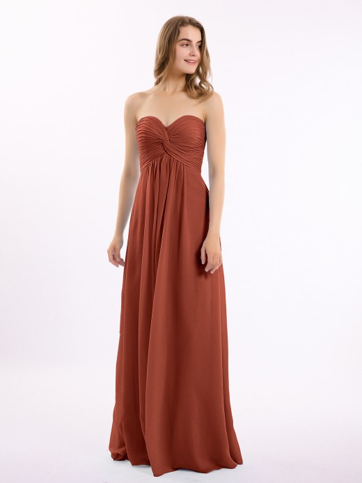 Babaroni Antonia Empire Strapless Chiffon Gown with Sweetheart Neck
