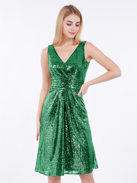 Babaroni Arlene Short Sequins Dresses with V Neckline
