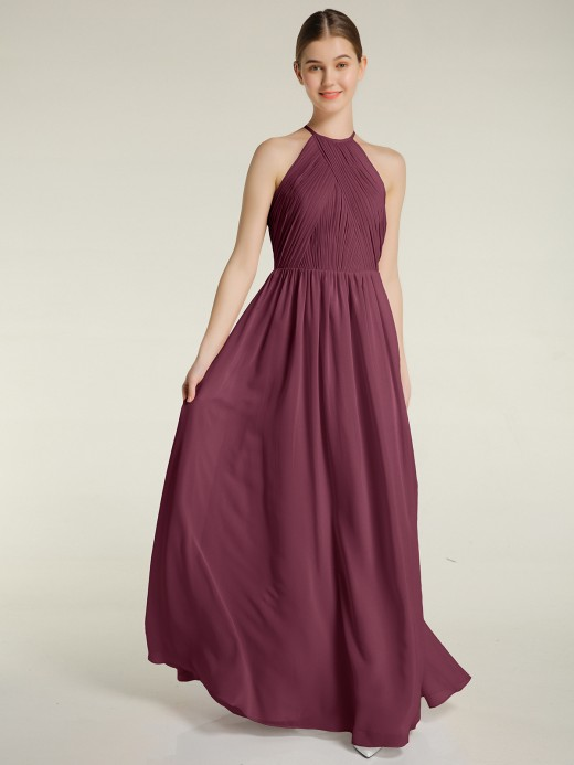 Babaroni Ash Halter Long Chiffon Dress with Open Back