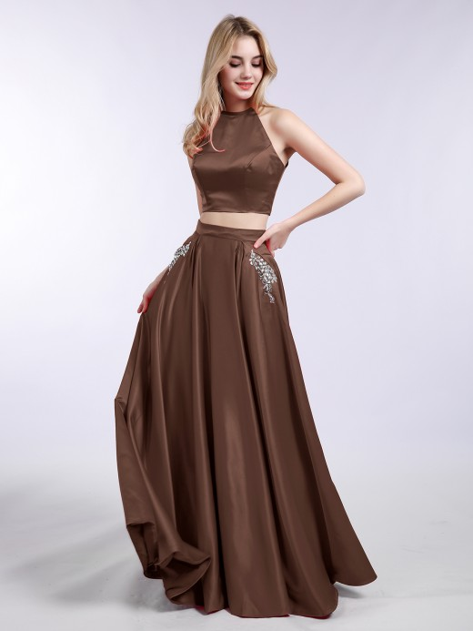 Babaroni Asha Satin 2 Piece Long Dresses with Pocket