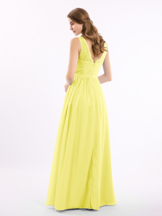 Babaroni Athena Floral Lace Top and Chiffon Bottom Full-length Dresses