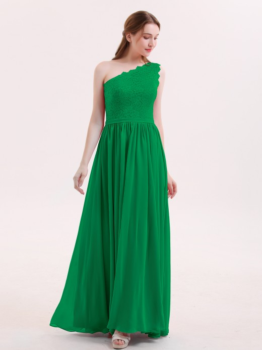 Babaroni Audrey One Shoulder Dresses with Lace Bodice