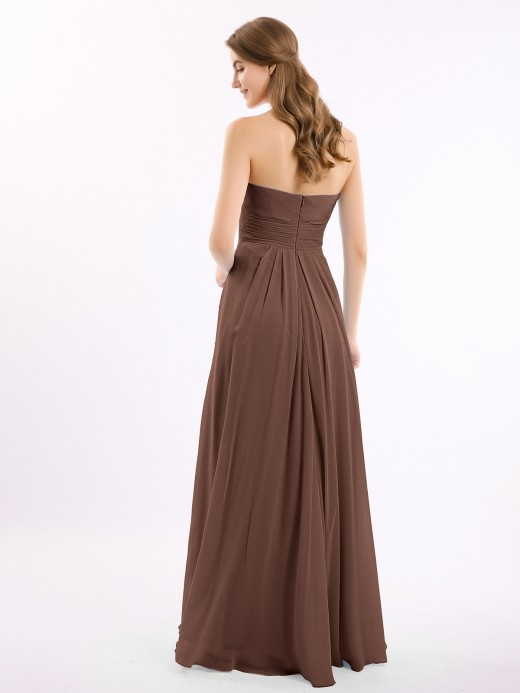 Babaroni Aurora Strapless Long Chiffon Dresses with Cascade Hem