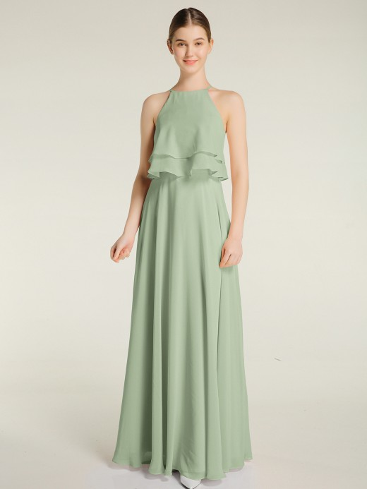 Babaroni Aveline Two Layers Chiffon Top Long Bridesmaid Dress