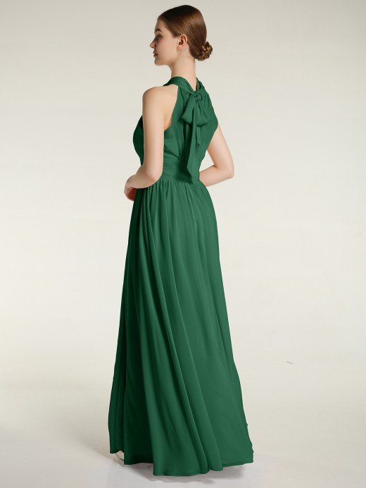 Babaroni Bea Halter Chiffon Bridesmaid Dress with Slit