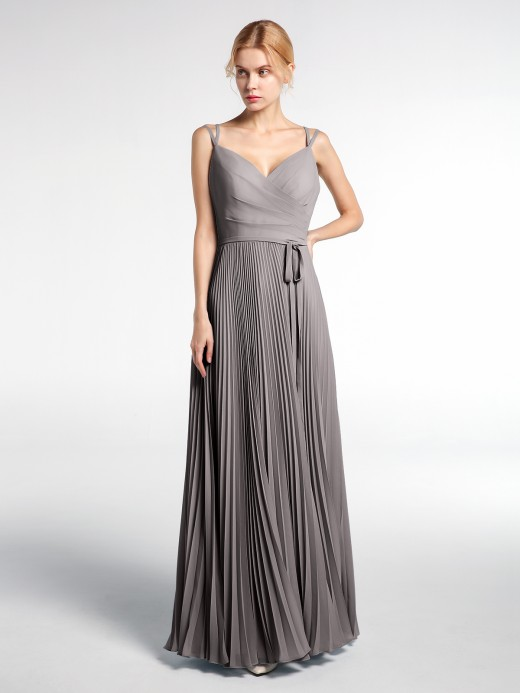 Babaroni Bebe Double Straps Pleated Skirt Dress with Self-tie