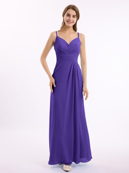 Babaroni Bernice Double Straps Chiffon Dress with Sweetheart Neck