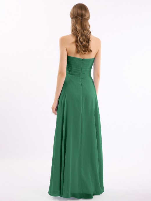 Babaroni Beryl Empire Cross-pleated Chiffon Gown with Sweetheart Neck