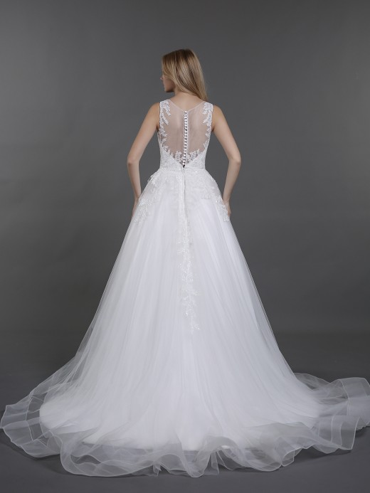 Babaroni Betsy Chapel Train Tulle Bridal Gowns with ILLUSION