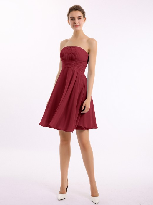 Babaroni Beverly Short Chiffon Strapless Bridesmaid Dresses