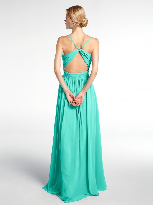 Babaroni Breenda Criss-Cross Open Back Gown with Spaghetti Strap