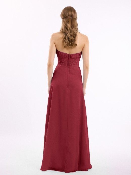 Babaroni Brooke Strapless Chiffon Dress with Cascade Skirt