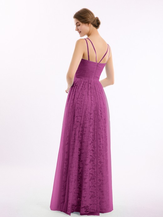 Babaroni Bryony Lace and Tulle Floor Length Dress with V neck