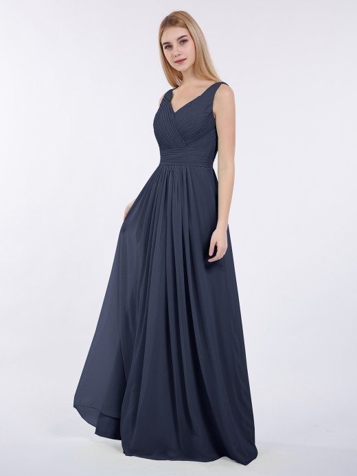 Babaroni Camille A-line Chiffon Floor Length V Neck Dresses