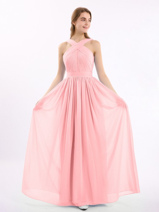 Babaroni Candance Long Chiffon CROSS-FRONT Dress of Bridesmaids