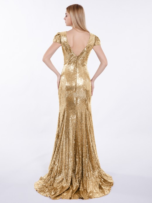 Babaroni Cara Sequins Mermaid Dresses with Sweep Train