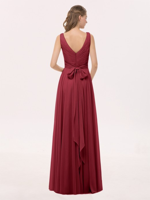 Cassiopeia Full Length Chiffon Dresses with Bow UK8