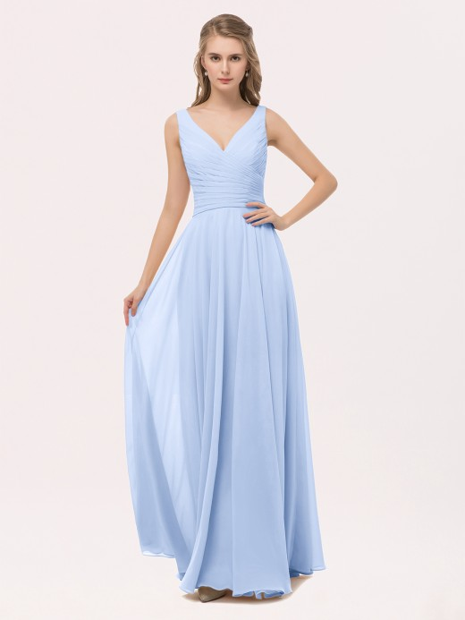 Babaroni Cassiopeia Full Length Chiffon Dresses with Bow