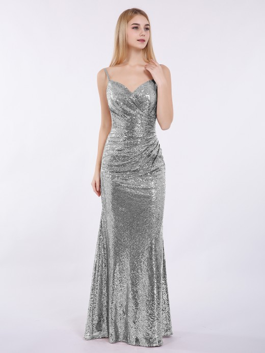 Babaroni Cathy Sequins Lace Dresses with Spaghetti Strap