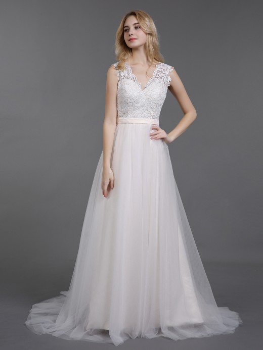 Babaroni Cecilia Tulle and Lace Wedding Dresses with Train