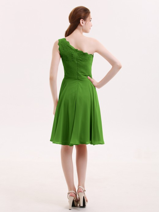 Babaroni Cheryl One Shoulder Short Dresses with Lace Bodice