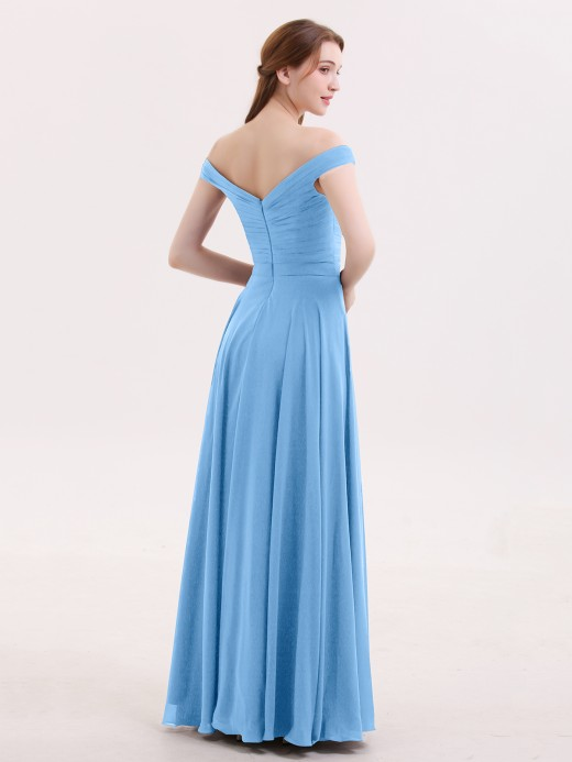 Babaroni Christine Off the Shoulder Long Chiffon Dresses