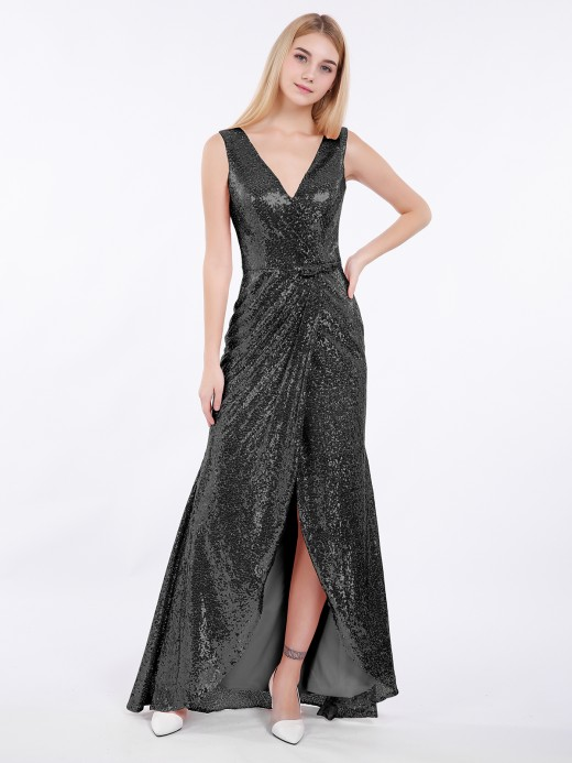 Babaroni Ciel High Low Sequins Lace Dresses with Bow