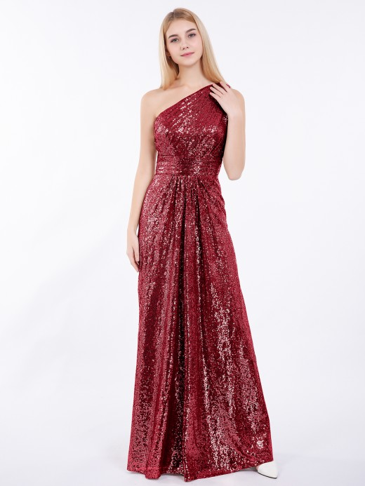 Babaroni Claire One Shoulder Sequins Lace Maxi Dresses