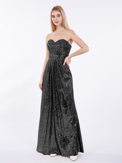 Babaroni Clara Long Sequins Dresses with Sweethart Neck