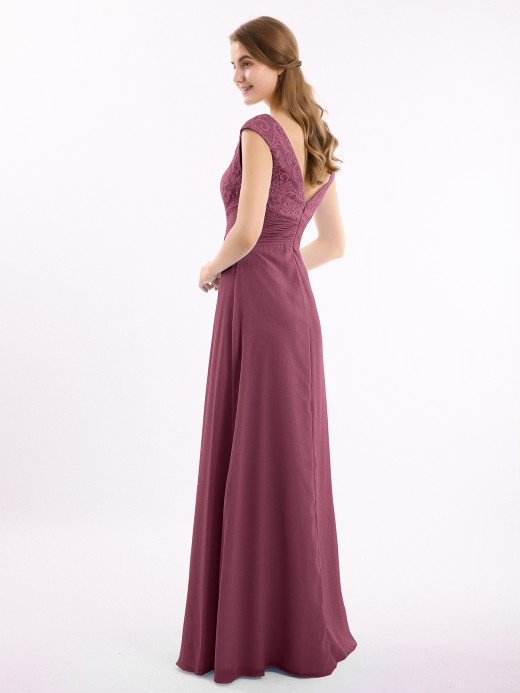 Claudia Long Lace Cap Sleeves Chiffon Gown with V Neck UK16