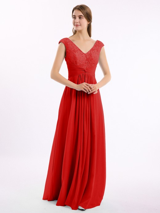 Babaroni Claudia Long Lace Cap Sleeves Chiffon Gown with V Neck