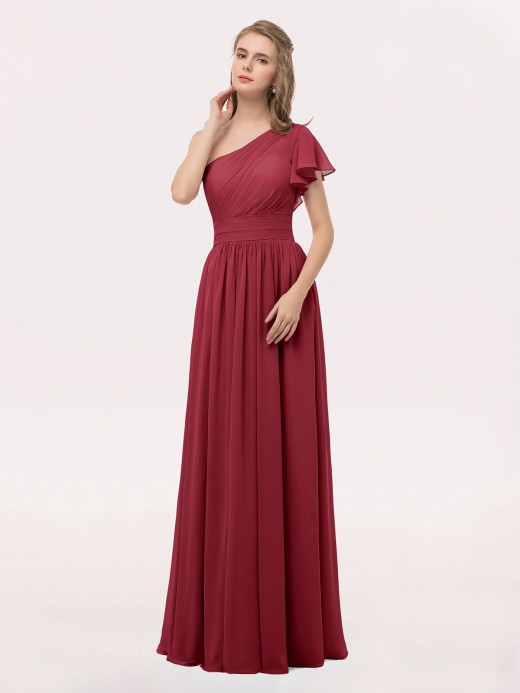 Babaroni Clementine One FLUTTER SLEEVE Long Chiffon Dresses